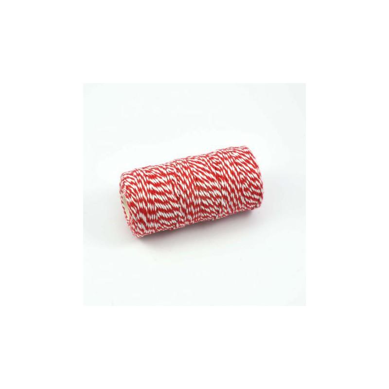 bobine de ficelle bicolore twine rouge blanc 100m. Black Bedroom Furniture Sets. Home Design Ideas