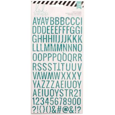 Alphabet Puffy pailleté Heidi Swapp - Majuscules - Turquoise