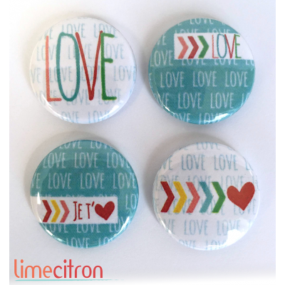 """Badges Lime Citron 1"""" - In Love"""