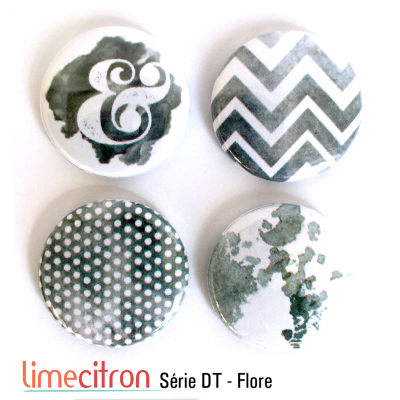 """Badges Lime Citron 1"""" - Série DT - Flore"""