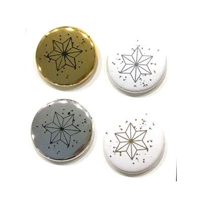 """Badges Lime Citron 1"""" - Etoiles scintillant"""