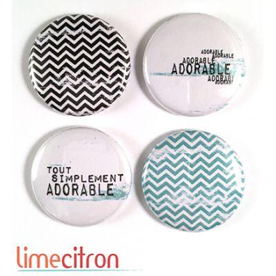 """Badges Lime Citron 1"""" - Adorable"""