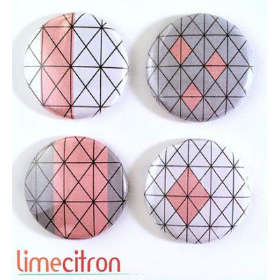 """Badges Lime Citron 1"""" - Graphique rose & gris"""