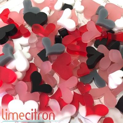 Sujets acryliques Lime Citron - Plein coeurs - Rouges