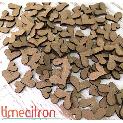 Chipboards Lime Citron - Minis coeurs