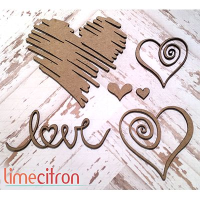 Chipboards Lime Citron - Kit coeurs