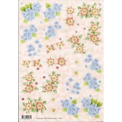 Image Carterie 3D - Fleurs bleues & rouges