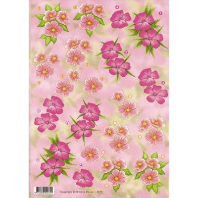 Image Carterie 3D - Fleurs roses