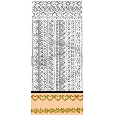 Stickers Peel-off - Bordure Fleurs / Coeurs - Or Diamant