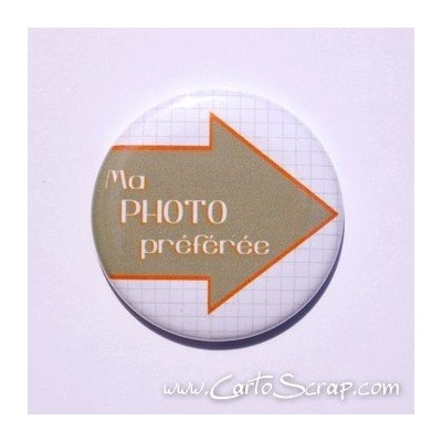 Badge 38mm - Flèche Ma Photo préférée - Orange Vif