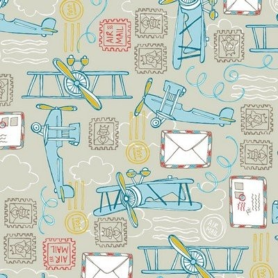 Fat Quarter Camelot - Take Flight - Air Mail Light Taupe