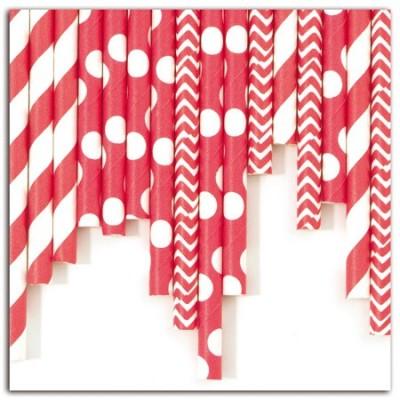 Assortiment 24 pailles - Rouge