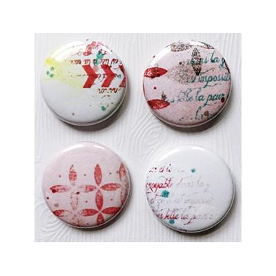 """Badges Lime Citron 1"""" - Abstrait Rouge"""