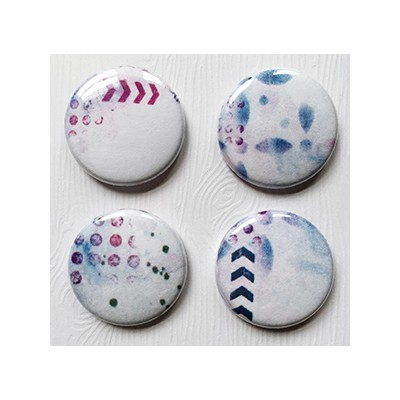 """Badges Lime Citron 1"""" - Abstrait Rose & Mauve"""