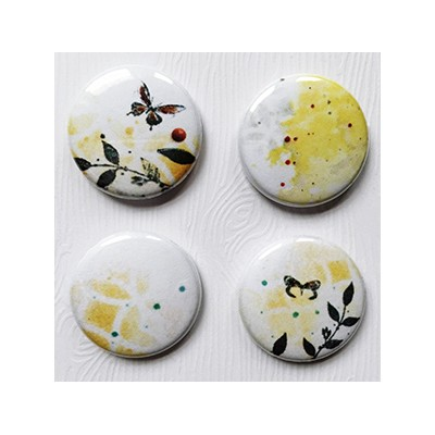 """Badges Lime Citron 1"""" - Abstrait Jaune"""