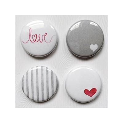 """Badges Lime Citron 1"""" - Love en gris"""