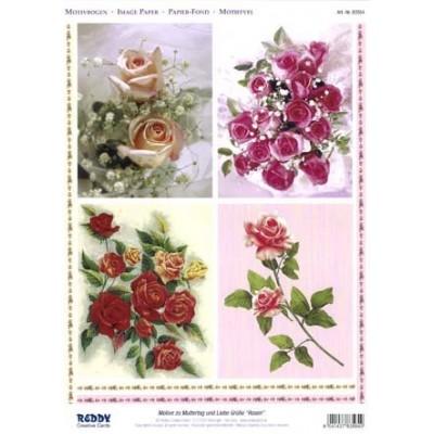Image Carterie 3D pré-découpée recto-verso - Roses