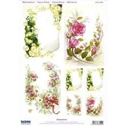 Image Carterie 3D pré-découpée recto-verso - Angles fleuris