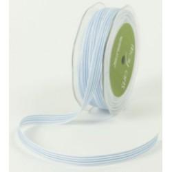 Ruban grosgrain rayé bleu - blanc