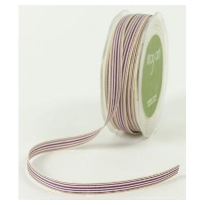 Ruban grosgrain rayé violet - beige