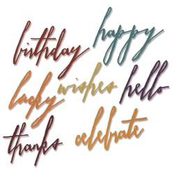 Dies Sizzix Thinlits by Tim Holtz - Handwritten Celebrate