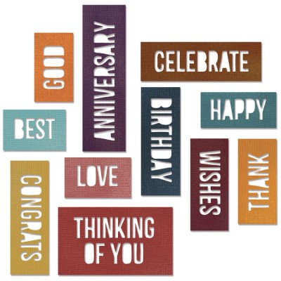 Dies Sizzix Thinlits by Tim Holtz - Celebration Block Words