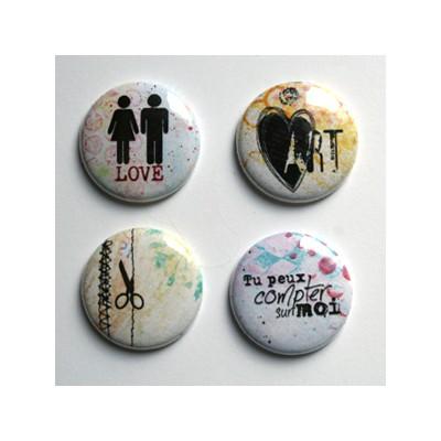"""Badges Lime Citron 1"""" - Love Art"""