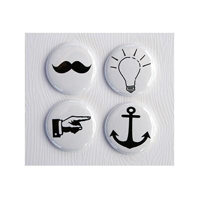 """Badges Lime Citron 1"""" - Moustache"""