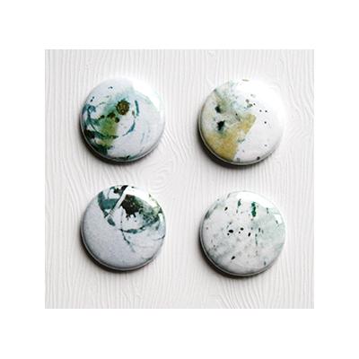 """Badges Lime Citron 1"""" - Abstrait blanc"""