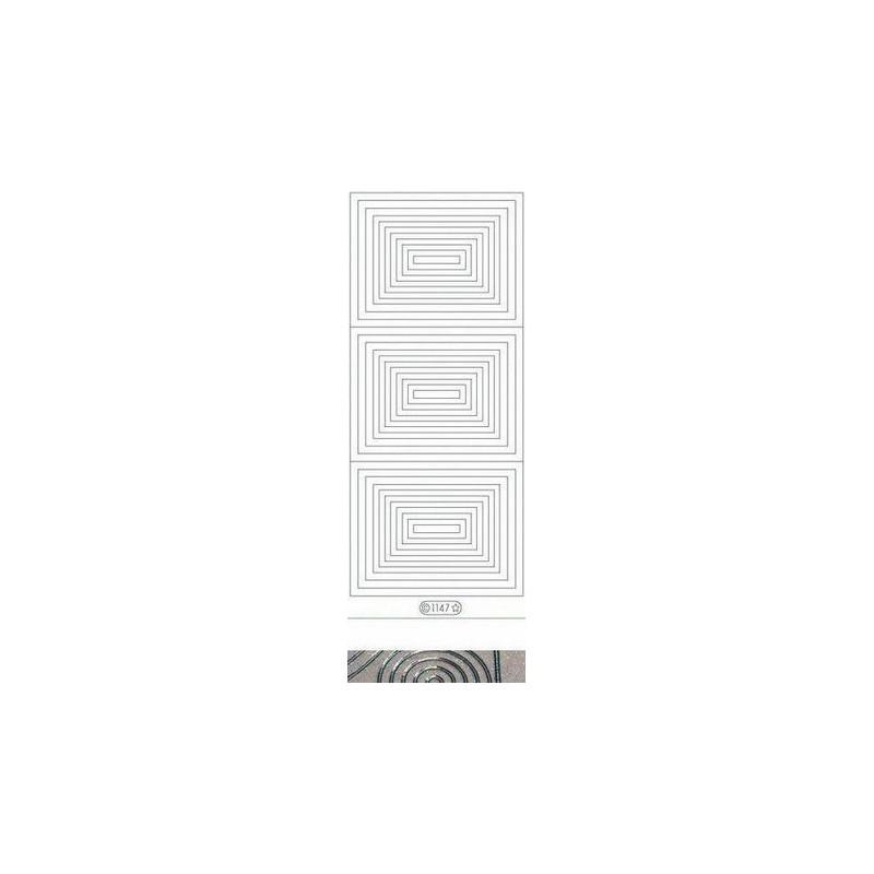 Stickers Peel-off - Rectangles Transparents pailletés - Argent