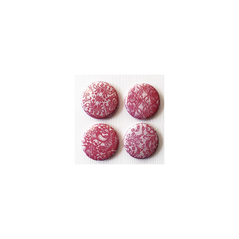 "Badges Lime Citron 1"" - Dentelle rose"
