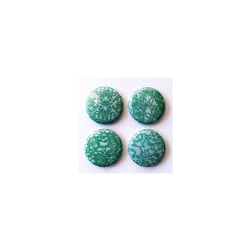 "Badges Lime Citron 1"" - Dentelle turquoise"