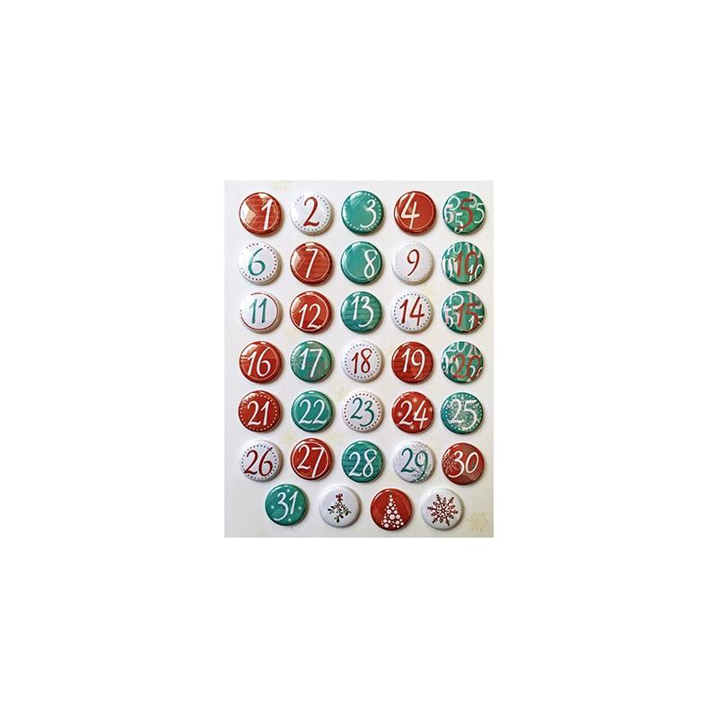 """Badges Lime Citron 1"""" - Calendrier de l'avent (blanc, turquoise, rouge et rose)"""