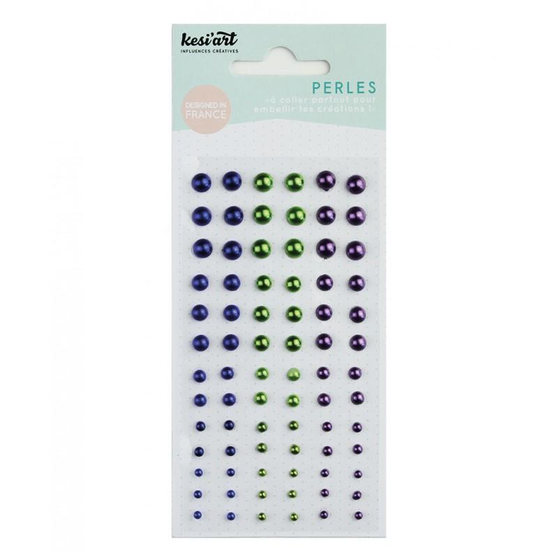 Demi-perles nacrées KesiArt - Bleu nuit Vert Violet