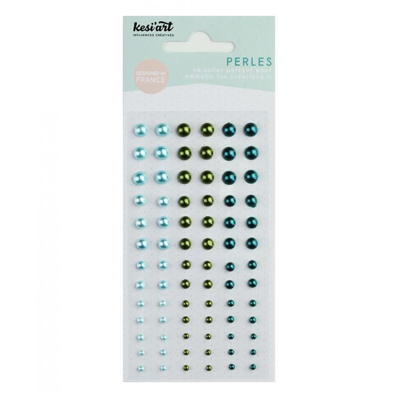 Demi-perles nacrées KesiArt - Bleu Vert Turquoise