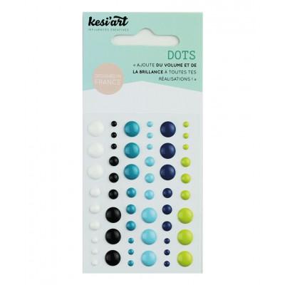 Dots KesiArt - Blanc Noir Bleu Vert