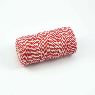 Bobine de ficelle bicolore Twine rouge/blanc (100m)