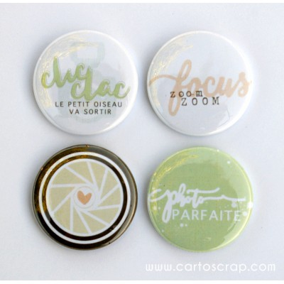 Lot de 4 badges 38mm CartoScrap - Photographie