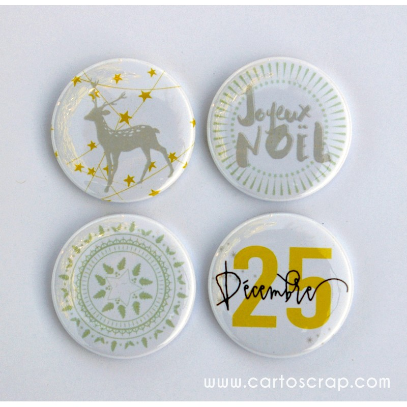 Lot de 4 badges 38mm CartoScrap - Noël