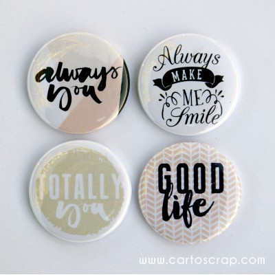 Lot de 4 badges 38mm CartoScrap - Always You