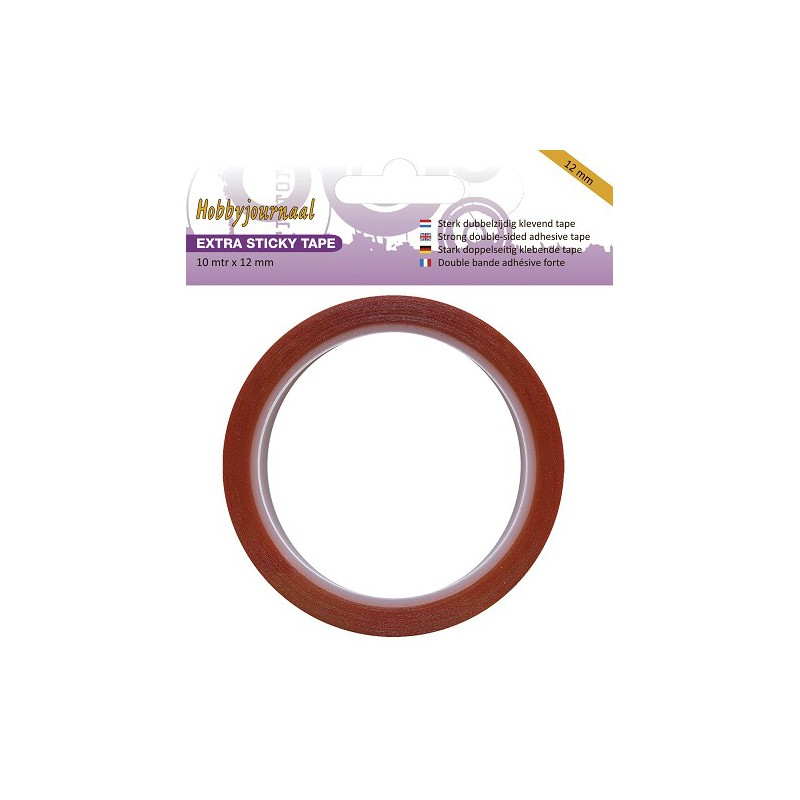 Adhésif double-face rouge - Extra Sticky Tape - 12 mm