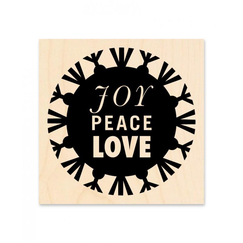 Tampon bois KesiArt - Série Noël - Joy Peace Love