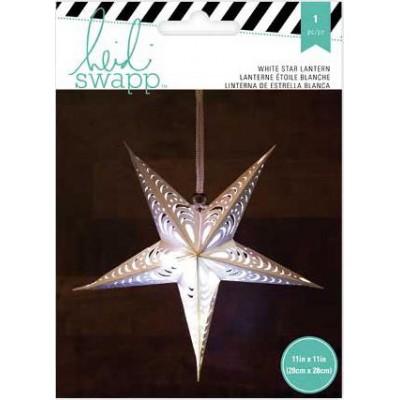 Lanterne en papier - Étoile 5 branches 28 cm - Blanc