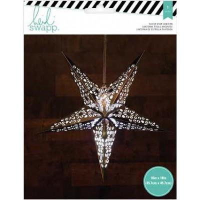Lanterne en papier - Étoile 5 branches 46 cm - Argent