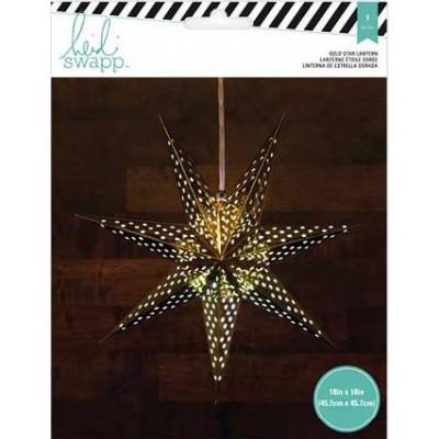 Lanterne en papier - Étoile 7 branches 46 cm - Doré