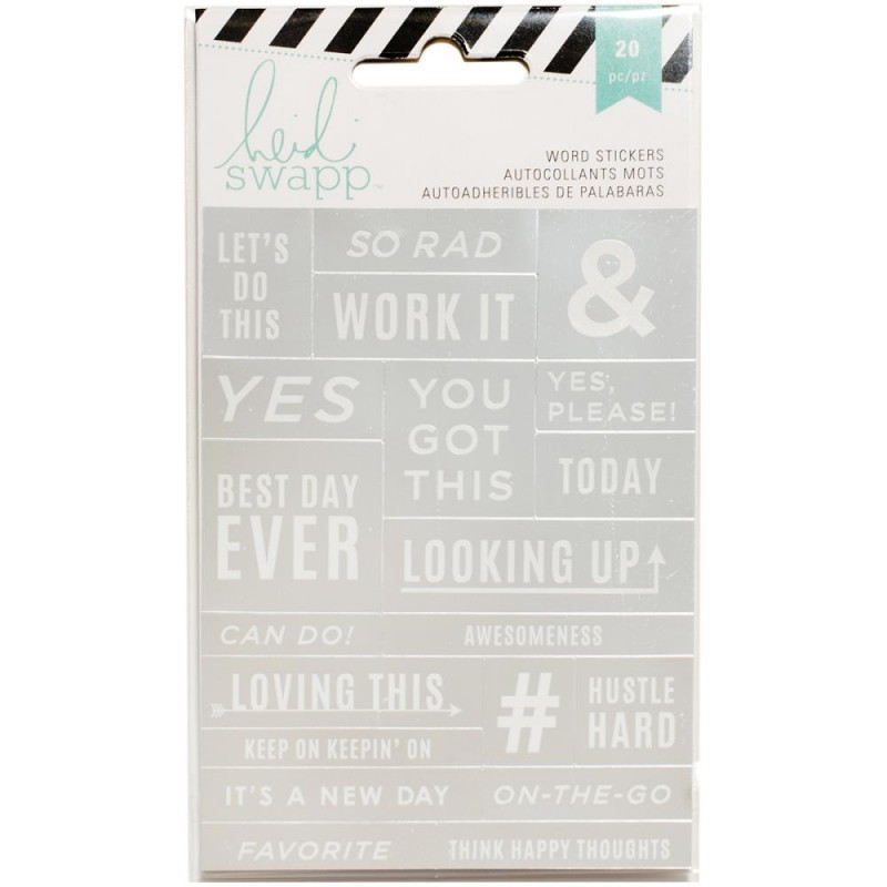 Stickers Mots Heidi Swapp - Argent & Blanc