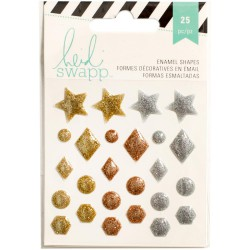 Stickers Enamel Shapes Heidi Swapp - Or & Argent
