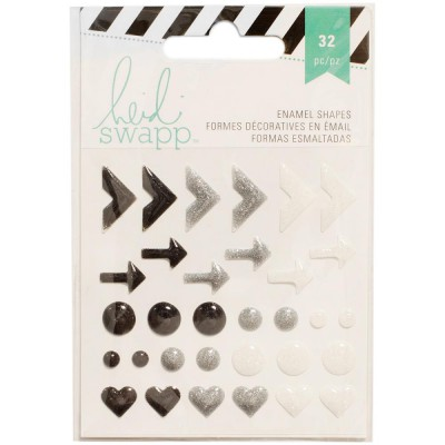 Stickers Enamel Shapes Heidi Swapp - Noir & Blanc
