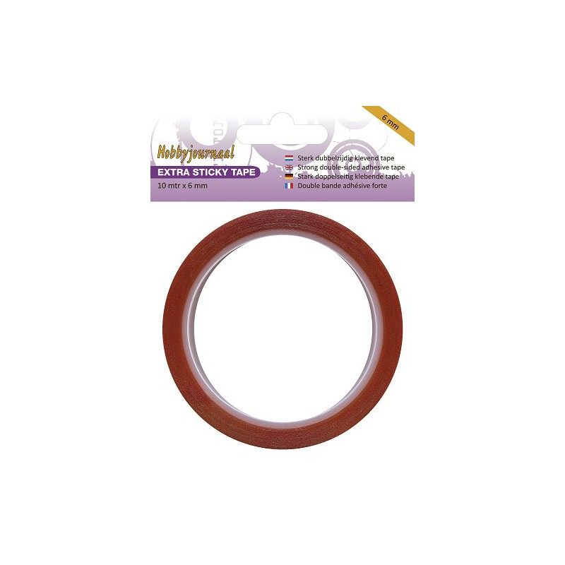 Adhésif double-face rouge - Extra Sticky Tape - 6 mm