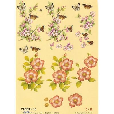 Image Carterie 3D - Branche fleurie et Papillons